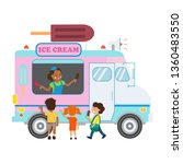 food truck with ice cream flat... | Shutterstock .eps vector #1360483550