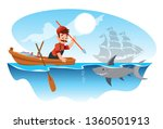 fisherman hunts a shark with a... | Shutterstock .eps vector #1360501913