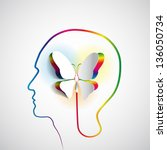 human head with paper butterfly ... | Shutterstock .eps vector #136050734