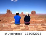 young couples looking in... | Shutterstock . vector #136052018