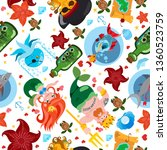 seamless pattern on the pirate... | Shutterstock .eps vector #1360523759