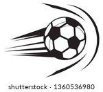 football strike on goal post  ... | Shutterstock .eps vector #1360536980