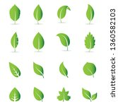 abstract leaf and tree icon set ... | Shutterstock .eps vector #1360582103
