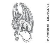 gargoyle in sitting aggressive... | Shutterstock .eps vector #1360603736