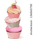 pyramid of cupcakes elegance... | Shutterstock .eps vector #136063730