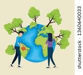 man and woman with planet to... | Shutterstock .eps vector #1360640033