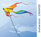 multicolor kite in the sky with ... | Shutterstock .eps vector #13606420