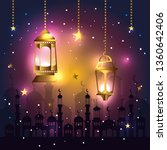 lights lamps with star hanging... | Shutterstock .eps vector #1360642406