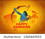 illustration of Ram Navami (Birthday of Lord Rama)  with bow arrow greeting card for Hindu spring festival Navratri