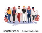 flat team with men and women... | Shutterstock .eps vector #1360668053