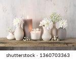 white flowers in neutral...   Shutterstock . vector #1360703363
