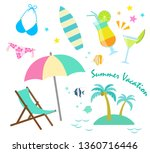 summer vacation icon set  beach ...