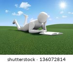 3d Man Reading Book on Beautiful Landscape with Clouds and Sun - stock photo