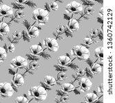 hand drawn watercolor anemones...   Shutterstock . vector #1360742129