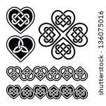 celtic heart knot   vector... | Shutterstock .eps vector #136075016