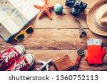 travel accessories costumes....   Shutterstock . vector #1360752113