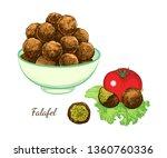 sketch of falafel. falafel... | Shutterstock .eps vector #1360760336