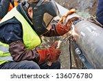 welder wearing protective... | Shutterstock . vector #136076780