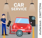 auto mechanic fitting tyre flat ... | Shutterstock .eps vector #1360772546