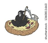 grim reaper flying over a pizza ... | Shutterstock .eps vector #1360811663