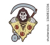 grim reaper tearing a pizza  ... | Shutterstock .eps vector #1360812236