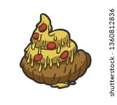 funny pizza shit   vector... | Shutterstock .eps vector #1360812836