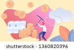 man mining bitcoin with pickaxe ... | Shutterstock .eps vector #1360820396