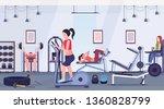 sporty people doing exercises...   Shutterstock .eps vector #1360828799