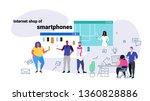 people doing online shopping...   Shutterstock .eps vector #1360828886