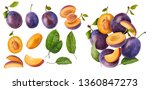 Stock photo set with different flying in air fresh ripe whole and cut plums with leavs isolated on white 1360847273