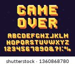 pixel game font. retro games... | Shutterstock .eps vector #1360868780
