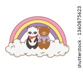 cute animals in the clouds with ... | Shutterstock .eps vector #1360875623