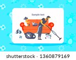 father cleaning floor with... | Shutterstock .eps vector #1360879169
