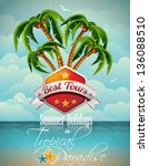 vector summer holiday flyer... | Shutterstock .eps vector #136088510