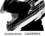 motorcyclist with helmet in... | Shutterstock . vector #136089896