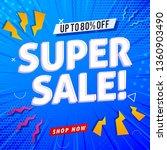 summer sale on blue background.   Shutterstock .eps vector #1360903490