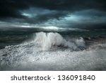 view of storm seascape   Shutterstock . vector #136091840