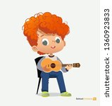 curly red haired boy sit on... | Shutterstock .eps vector #1360923833