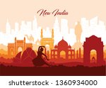 illustration of famous indian... | Shutterstock .eps vector #1360934000