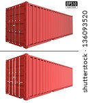realistic shipping container  ... | Shutterstock .eps vector #136093520