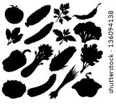 vegetables icons set black... | Shutterstock .eps vector #136094138