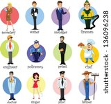 cartoon characters of different ... | Shutterstock .eps vector #136096238
