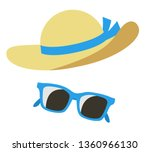 Straw Hat And Sunglasses Icon...