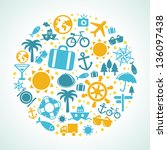 vector travel concept   summer... | Shutterstock .eps vector #136097438