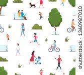 people in park seamless pattern.... | Shutterstock . vector #1360987010