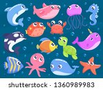 cute cartoon sea animals vector ... | Shutterstock .eps vector #1360989983