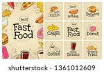 set fast food and bubble. cola  ... | Shutterstock .eps vector #1361012609