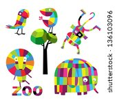 vector set with animals | Shutterstock .eps vector #136103096