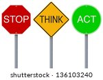 modified colorful road signs... | Shutterstock . vector #136103240