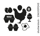 egg icon set. simple vector... | Shutterstock .eps vector #1361039243